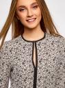 Блузка из струящейся ткани с контрастной отделкой oodji #SECTION_NAME# (бежевый), 11411059B/43414/3329F - вид 4