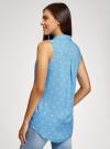 Топ вискозный с нагрудным карманом oodji для женщины (синий), 11411108B/26346/7510Q - вид 3