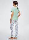 Пижама хлопковая с брюками oodji #SECTION_NAME# (зеленый), 56002200-5/46154/6510P - вид 3