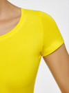 Футболка базовая приталенная oodji для женщины (желтый), 14701005-7B/46147/5100N - вид 4
