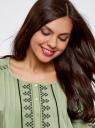 Платье вискозное с вышивкой и декоративными завязками oodji #SECTION_NAME# (зеленый), 21914003/33471/6200N - вид 4