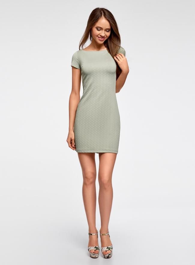 Платье из фактурной ткани с вырезом-лодочкой oodji для женщины (зеленый), 14001117-12B/42588/6000N