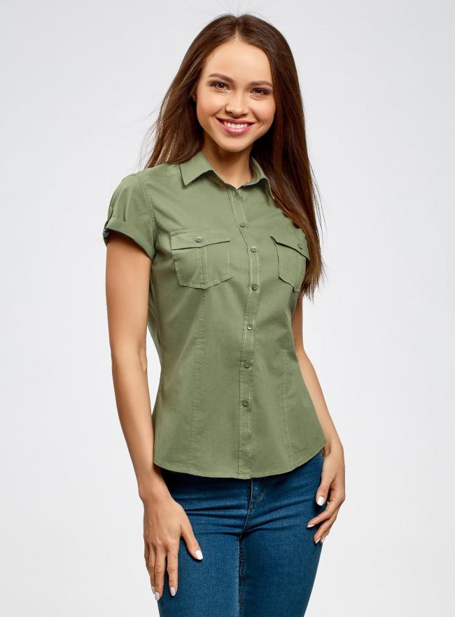 Рубашка базовая с коротким рукавом oodji #SECTION_NAME# (зеленый), 11402084-5B/45510/6200N