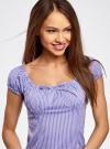 Платье хлопковое со сборками на груди oodji #SECTION_NAME# (фиолетовый), 11902047-2B/14885/8010S - вид 4