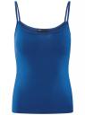 Майка базовая на тонких бретелях oodji для женщины (синий), 14306001-2B/46064/7500N