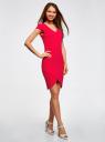 Платье с V-образным вырезом и асимметричным низом oodji #SECTION_NAME# (розовый), 14001208/22132/4700N - вид 6
