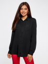 Блузка с нагрудными карманами и регулировкой длины рукава oodji для женщины (черный), 11400355-3B/26346/2900N