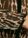 Блузка из струящейся ткани с контрастной отделкой oodji #SECTION_NAME# (бежевый), 11411059-2/38375/3329A - вид 5