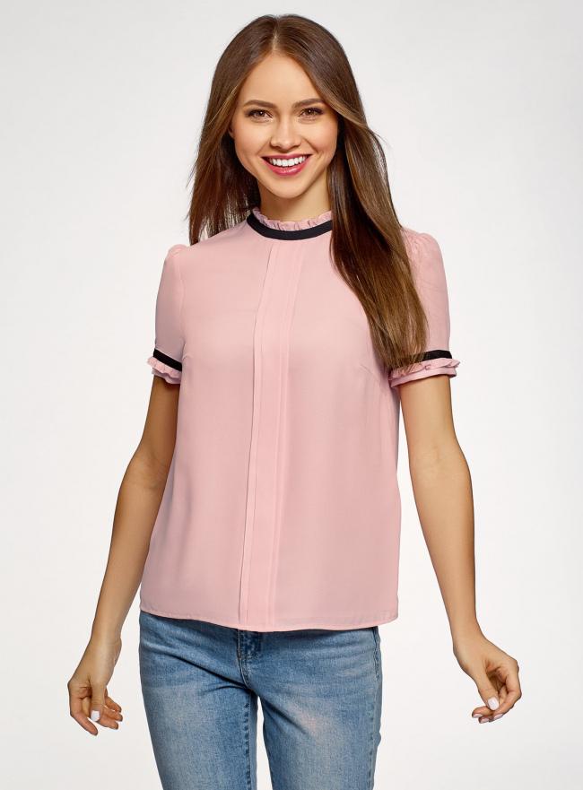 Блузка из струящейся ткани с контрастной отделкой oodji #SECTION_NAME# (розовый), 11401272-1/36215/4129B