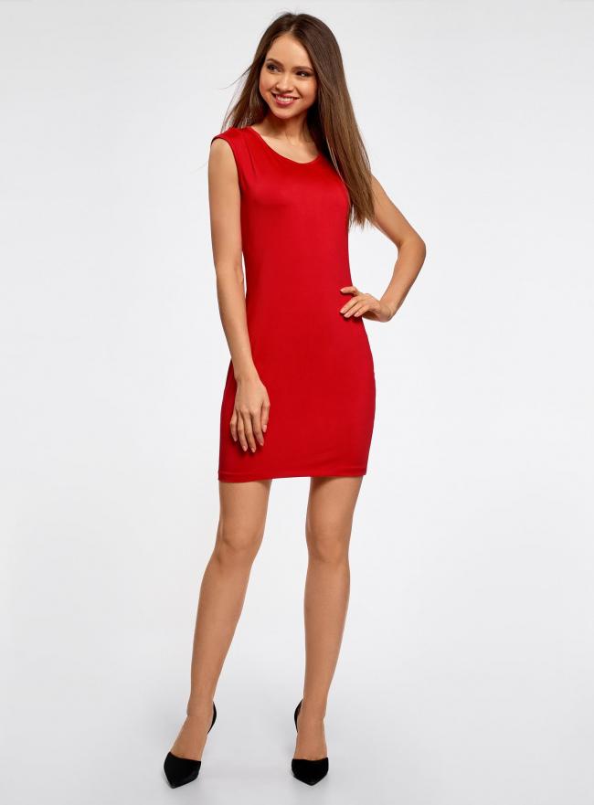 Платье трикотажное с круглым вырезом oodji для женщины (красный), 14008014-6B/46943/4500N