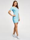 Платье прилегающего силуэта в рубчик oodji #SECTION_NAME# (синий), 14011012/45210/7010S - вид 6