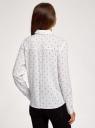 Блузка свободного силуэта с декоративными пуговицами на спине oodji для женщины (белый), 11401275/24681/1229D