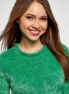 Джемпер ворсистый с коротким рукавом oodji для женщины (зеленый), 63807270-1/45514/6D00N - вид 4