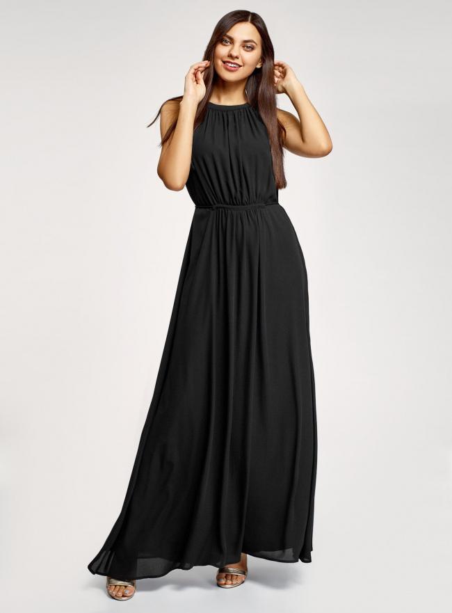 Платье макси с завязками на талии oodji для женщины (черный), 11911009/42629/2900N