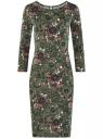 Платье трикотажное с вырезом-капелькой на спине oodji #SECTION_NAME# (зеленый), 24001070-5/15640/6641F