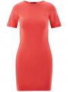 Платье прилегающего силуэта в рубчик oodji #SECTION_NAME# (красный), 14011012/45210/4300N