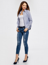 Блузка приталенная в горошек oodji #SECTION_NAME# (синий), 11403227/46079/1075G - вид 6