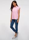 Рубашка хлопковая с нагрудными карманами oodji #SECTION_NAME# (розовый), 13L11008/47730/4000N - вид 6