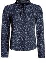 Блузка с декоративными завязками и оборками на воротнике oodji #SECTION_NAME# (синий), 11411091-2/36215/7930F