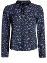 Блузка с декоративными завязками и оборками на воротнике oodji для женщины (синий), 11411091-2/36215/7930F