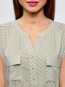 Блузка с короткими рукавами и нагрудными карманами oodji #SECTION_NAME# (зеленый), 21412132-2B/24681/6010G - вид 4