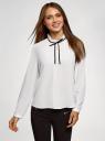 Блузка с декоративными завязками и оборками на воротнике oodji #SECTION_NAME# (белый), 11411091-2/36215/1200B - вид 2