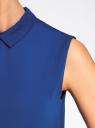Блузка базовая без рукавов с воротником oodji #SECTION_NAME# (синий), 11411084B/43414/7501N - вид 5