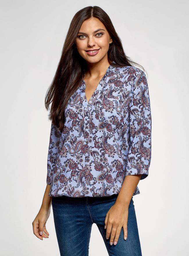 Блузка вискозная с рукавом-трансформером 3/4 oodji для женщины (синий), 11403189-3B/26346/7031E
