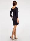 Платье из фактурной ткани с рукавом 3/4 oodji #SECTION_NAME# (синий), 14001064-4/43665/7900N - вид 3