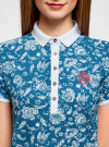Платье-поло из ткани пике oodji #SECTION_NAME# (синий), 24001118-2/47005/7010E - вид 4