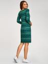 Платье трикотажное с вырезом-капелькой на спине oodji #SECTION_NAME# (зеленый), 24001070-5/15640/6C52E - вид 3