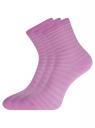 Комплект хлопковых носков в полоску (3 пары) oodji для женщины (фиолетовый), 57102813T3/48022/6