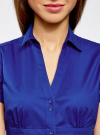 Рубашка с V-образным вырезом и отложным воротником oodji #SECTION_NAME# (синий), 11402087/35527/7501N - вид 4