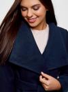 Пальто с поясом и асимметричной застежкой oodji для женщины (синий), 10104041-2/43442/7900N - вид 4