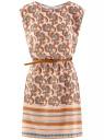 Платье вискозное с поясом oodji для женщины (оранжевый), 11910073-3B/26346/5470E