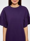 Платье прямого силуэта с воланами на рукавах oodji #SECTION_NAME# (фиолетовый), 14000172B/48033/8800N - вид 4