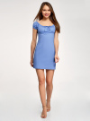 Платье хлопковое со сборками на груди oodji #SECTION_NAME# (синий), 11902047-2B/14885/7500N - вид 2