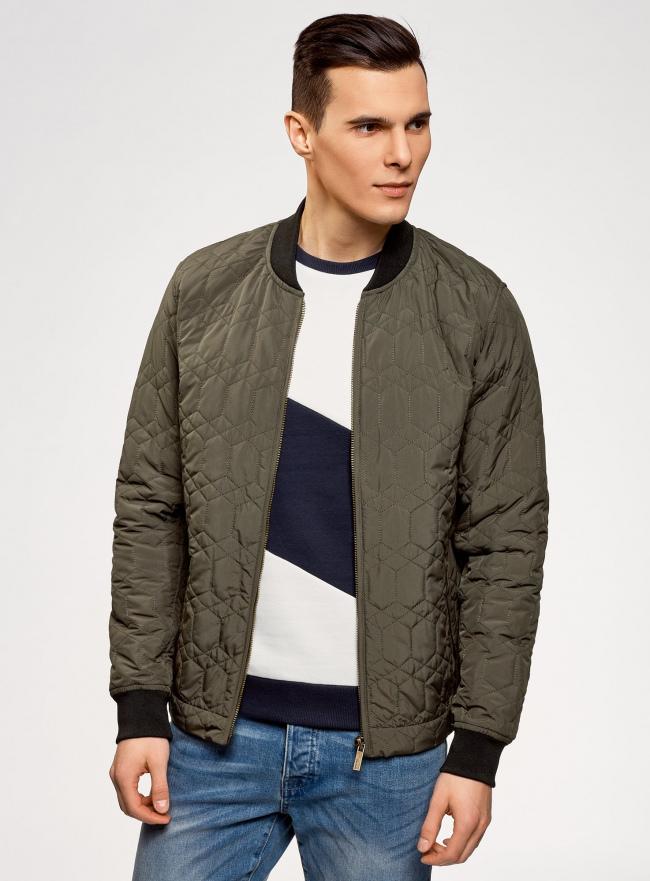 Куртка стеганая с резинками на манжетах и воротнике oodji #SECTION_NAME# (зеленый), 1L111021M/46344N/6600N
