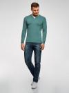 Пуловер с хлопковой вставкой на груди oodji #SECTION_NAME# (зеленый), 4B212006M/39245N/6D00B - вид 6