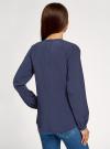 Блузка свободного силуэта с вышивкой oodji #SECTION_NAME# (синий), 11414008-1/46123/7919P - вид 3