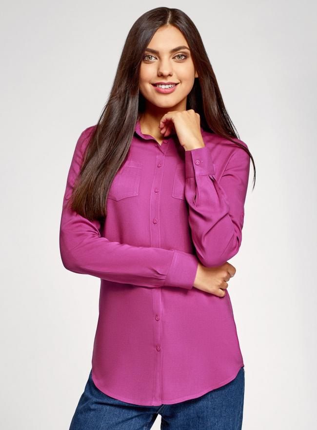 Блузка базовая из вискозы oodji для женщины (красный), 11400355-3/26346/4C00N