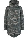 Куртка стеганая с объемным воротником oodji #SECTION_NAME# (зеленый), 10200079/32754/6837O