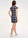 Платье клетчатое с карманами и воротником-хомутом oodji для женщины (синий), 11910058-2/37812/7935C - вид 3