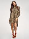 Платье шифоновое с асимметричным низом oodji для женщины (бежевый), 11913032/38375/3329A