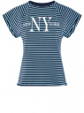 Футболка трикотажная с принтом oodji для женщины (синий), 14707001-13/46154/7973P