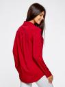 Блузка базовая из вискозы с карманами oodji #SECTION_NAME# (красный), 11400355-4/26346/4500N - вид 3