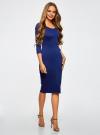 Платье облегающее с вырезом-лодочкой oodji #SECTION_NAME# (синий), 14017001/42376/7500N - вид 2