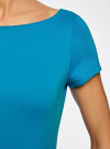 Платье трикотажное с вырезом-лодочкой oodji #SECTION_NAME# (синий), 14001117-2B/16564/7501N - вид 5