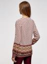 Блузка прямого силуэта с V-образным вырезом oodji #SECTION_NAME# (коричневый), 21400394-3/24681/1231E - вид 3