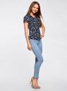 Блузка принтованная из легкой ткани oodji #SECTION_NAME# (синий), 21407022-9/12836/7952F - вид 6
